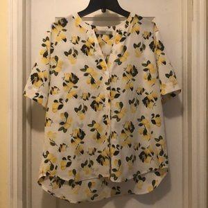 Lemon print blouse M